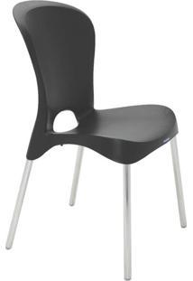 Cadeira Com Encosto Fechado E Pernas Polidas Jolie Summa Preta