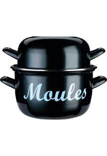 Panela Esmaltada Moules Kitchen Craft Preta 24Cm - 27755