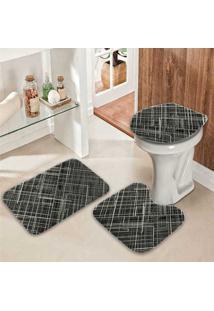 Jogo Tapetes Para Banheiro Geométrico