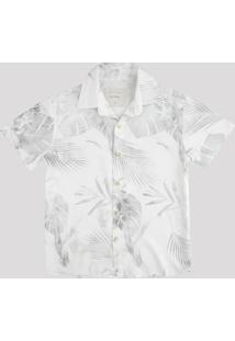 Camisa Infantil Estampada De Folhagem Manga Curta Off White