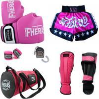 9cea353aa Kit Muay Thai Oríon Luva Bandagem Bucal Caneleira Bolsa Shorts 08 Oz -  Feminino