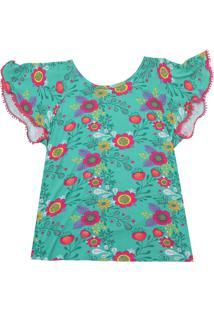 Camiseta Nanai Menina Floral Verde