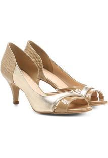 Peep Toe Shoestock Salto Fino Mix Texturas - Feminino