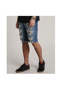 Bermuda Jeans Masculina Slim Destroyed Com Bolsos Azul