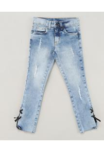 Calça Jeans Infantil Com Puídos E Lace Up Azul Claro