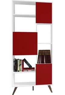 Estante Com 3 Portas E 3 Prateleiras Retrô Rt3039 - Movelbento - Branco / Vermelho
