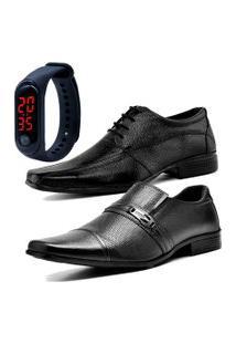 2 Pares Sapato Social Fashion Com Relógio Led Fine Dubuy 902-710El Preto.