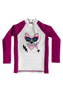 Camiseta De Lycra Comfy Rock Dog Rosa