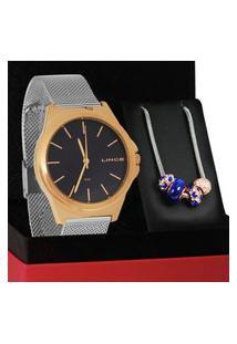 Kit Relógio Analógico Feminino Prata Lince - Lrt4650L Kx54D1Sx Prata