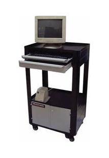 Rack Móvel Para Computador Semi Aberto Com 2 Gavetas E 2 Portas - Rll-26P - Rotterman (Preto)