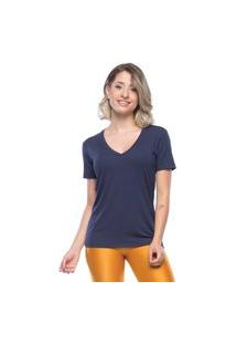 Camisetas Manga Curta Mulher Elastica Camiseta New Beautiful V - Azul Escuro - P Azul