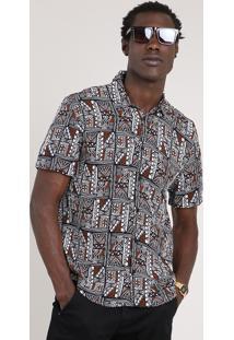 Camisa Masculina Tradicional Estampada Étnica Manga Curta Preta