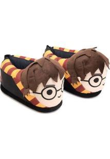 Pantufa 3D Ricsen Harry Potter - Unissex-Preto+Amarelo
