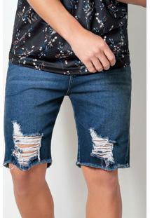 Bermuda Actual Jeans Com Efeito Destroyed