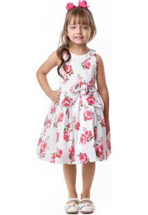 Vestido Pipoca Doce Tafetá Floral Rosa