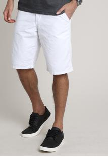 Bermuda Masculina Slim Alfaiatada Estampada Mini Print Branca