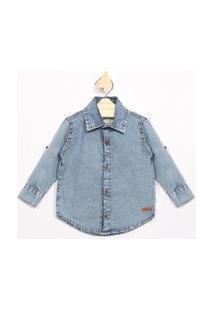 Camisa Infantil Jeans Manga Longa Azul Médio