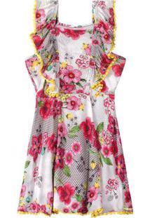 Vestido Cinza Floral Com Babados