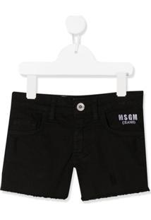 Msgm Kids Bermuda Jeans Com Logo Bordado - Preto