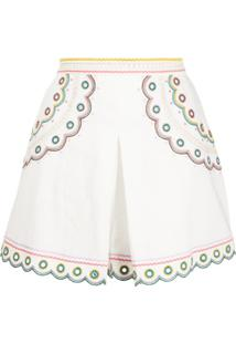 Zimmermann Short Peggy Com Bordado - Branco