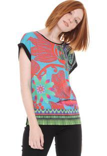 Camiseta Desigual Estampada Preta/Laranja