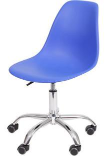 Cadeira Eames Com Rodizio Polipropileno Azul Escuro - 40792 - Sun House