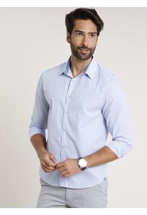 Camisa Masculina Comfort Fit Listrada Manga Longa Azul