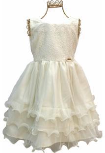 Vestido Brubella Tule E Renda Marfim