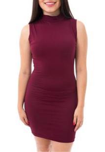 Vestido Moda Vicio Midi Justo Gola Alta - Feminino-Vinho