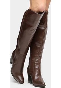 Bota Couro Over The Knee Shoestock Salto Grosso Feminino - Feminino