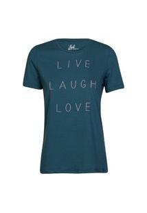 Camiseta Feminina Live Laugh Love Verde