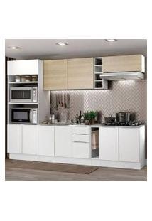 Cozinha Completa Madesa Stella 290001 Com Armário E Balcão Branco/Saara Cor:Branco/Branco/Saara