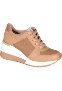 Tênis Sneaker Feminino Micro Furos Caramelo Caramelo