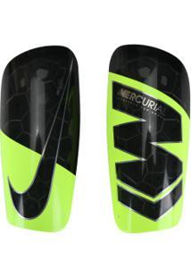 Caneleira De Futebol Nike Mercurial Lite Grid - Adulto - Preto/Amarelo Fluor