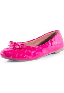 1529727707 Sapatilha Sassarica Bico Redondo Pink Matelassê Verniz Com Laço