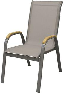 Cadeira Juquei Com Bracos Tela Bege Base Amendoa - 53832 Sun House