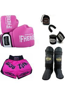 Kit Muay Thai Oríon - Luva Bandagem Bucal Caneleira Shorts 08 Oz Rosa/Branco - Unissex