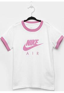 Camiseta Infantil Nike Air Ringer Manga Curta Feminina - Feminino-Branco+Rosa