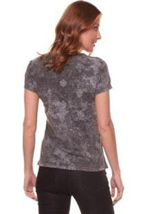 Camiseta Side Walk Árabe Flores Feminina - Feminino-Preto