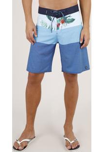 Bermuda Surf Masculina Estampada Listrada Floral Azul