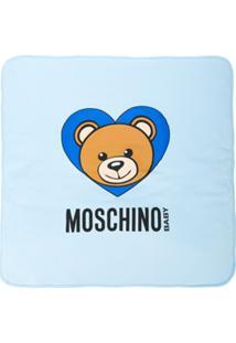Moschino Kids Cobertor Com Estampa - Azul