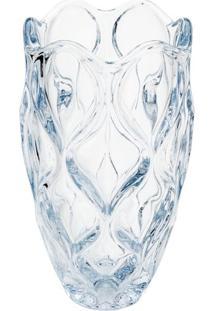 Vaso Com Detalhes Em Relevo- Cristal & Azul Claro- 2Rojemac