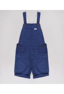Jardineira Infantil Com Bolsos Azul Marinho