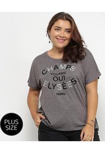 Camiseta City Lady Manga Curta Feminina - Feminino-Cinza