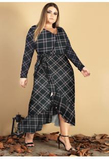 Vestido Transpassado Donna Peck Inverno Xadrez