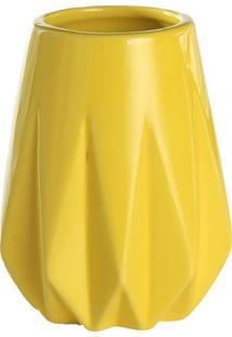 Vaso Decorativo Geométrico Em Relevo- Amarelo- 12Xø9Mdecor