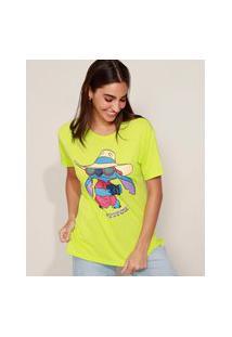 Camiseta Feminina Lilo E Stitch Manga Curta Verde