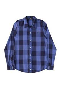 Camisa Longo Xadrez Flanelada Azul Marinho Johnny Fox - Azul - 14 Azul