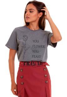 Camiseta Basica Joss You Flower Chumbo