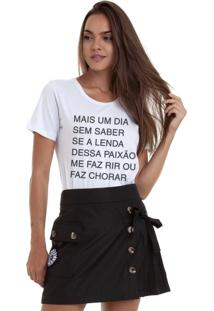 Camiseta Joss Estonada Estampada Mais Um Dia Sem Saber Branca